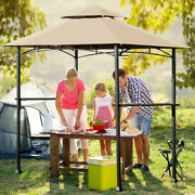Costway 8' X 5' Outdoor Patio Barbecue Grill Gazebo W/ Led Lights 2-tier Canopy