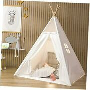 Teepee Tent For Kids Indoor Tents With Mat Inner Pocket Unique Off-white