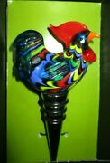 Colorful Rooster Wine Bottle Stopper Good Grip Rubber Rings Decorative Glass Mib