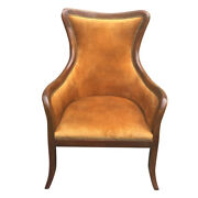 Curved Back Fabric Arm Upholstered Wooden Side Sofa Chair Brown Saltoro Sherpi