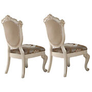 Faux Leather Upholstered Wooden Side Chair With Cabriole Legs White And Brown