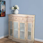 Saltoro Sherpi 4 Door Wood And Glass Storage Cabinet With 3 Drawers Beige And