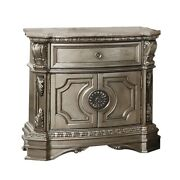 Saltoro Sherpi 1 Drawer Wooden Nightstand With Floral Accents And 2 Door