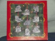 A Set Of 9 Pewter The Night Before Christmas Christmas Tree Ornaments
