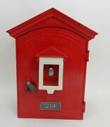 Nice Vintage Safa Superior American Fire Alarm Call Box Cottage With Key Clean