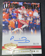 Patrick Mahomes /25 On Card Auto 2019 Plates And Patches Gold Leaps And Bounds