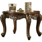 Saltoro Sherpi Wooden End Table With Fine Scrolled Work Antique Oak Brown