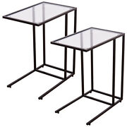 Costway 2pcs Coffee Tray Side Sofa End Table Ottoman Couch Stand Tv Lap W/glass