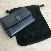 Chrome Hearts Authentic Tiny Folded Wallet One Snap Men Accessories Black
