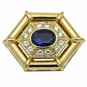 Womenand039s Blue Sapphire And Diamond Pendant In 18k Yellow Gold 1.50 Ct Tw