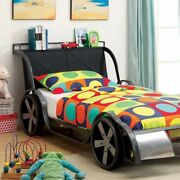 Gt Racer Metal Twin Size Bed, Silver And Black