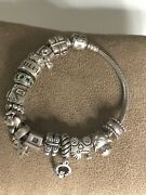 """Authentic Pandora 925 Sterling Silver Bracelet With 15 Charms 7"""" Total Wt 60g"""