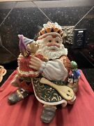 """Large Collectible Fitz And Floyd Cookie Jar, """"christmas Court"""""""