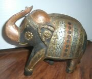 India Old Hand Carved Wood Elephant Figurine W/metal Copper Trunk Head Brass 8x9