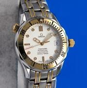 Mens Omega Seamaster 18k Gold And Ss Chronometer 36mm Watch - White Dial - 2352.20