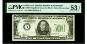 500 Fr. 2201-adgs 1934 Frn Federal Reserve Note Pmg About Uncirculated 53 Epq