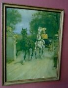 R. Atkinson Fox, Signed, Horse Drawn Carriage, Cart, Buggy, Lady, Print 1920s
