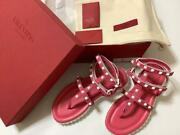 Valentino Rock Studs Shoes Sandals Flat Womenand039s Eu 38 With Box New 25cm