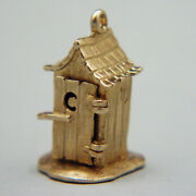 14k Gold Vintage Outhouse With Old Man Charm Opens
