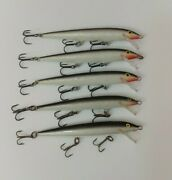 5 Rapala Floating Minnows F-11 Jerkbait Fishing Lures Lot Of 5 - Silver