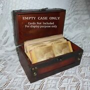 Custom Wooden Stereoview Case Holds 70-120 Stereograph Cards Up To 4-1/2 Tall