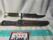 Vintage Fixed Blade Edge Brand 469 Solingen Germany Hunting Bowie Knife Stag
