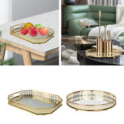 Mirror Glass Metal Decorative Candle Plate Display Tray Centerpiece Candle Tray,
