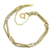 Antique 14k Yellow Gold 6.5 Bar And Cable Link Dual Strand Unique Chain Bracelet