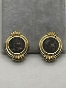 14k Yellow Gold Ancient Bronze Coin Round Omega Earrings Stud Roman Antique