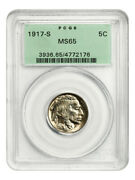 1917-s 5c Pcgs Ms65 Ogh Old Green Label Holder - Buffalo Nickel