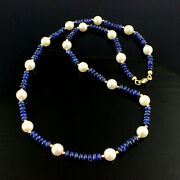 Classy Sapphire Chain With Real Japanese Akoya Cultured Pearls 750 And 585 Gold