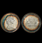 Ms62 1965 1 Canada Voyageur Silver Dollar Pcgs Secure- Rainbow Target Toned