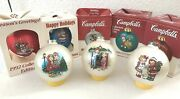 Campbell's Soup Ornaments Lot Of 8 Christmas Kids Balls 1984-2001 Vintage