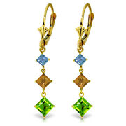 14k Yellow Gold Chandelier Earrings With Blue Topaz, Citrines And Peridots