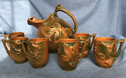 Roseville Pottery Bushberry Brown Pitcher 1325 And Six Mugs Cider Set Nice