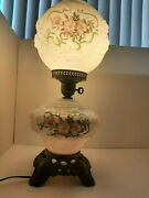 Antique Phoenix Gone With The Wind Hurricane Double Globe Lamp Summer Roses