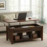 Lift Top Coffee Table Hidden Compartment And Storage Shelves Modern Furniture Us