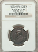 Vatican Pope Innocent X Medal Anno Vi 1650 - Ngc Ms 62 Brown. 27mm