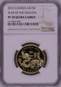 Ngc Pf70 2012 Canada Lunar Year Of The Dragon Gold Coin With Coa