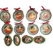 Vtg 1991 Trim A Tree Coca Cola Bottle Caps And Other Xmas Ornaments Lot Of 12