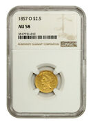 1857-o 2 1/2 Ngc Au58 - An Underrated Quarter Eagle - 2.50 Liberty Gold Coin