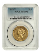 1899-s 10 Pcgs Ms62 Pl - Tied Finest Known - Liberty Eagle - Gold Coin