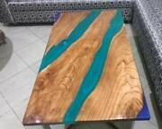 72 X 36 Epoxy Resin Dining Hall / Center Table Top Handmade Wooden Work