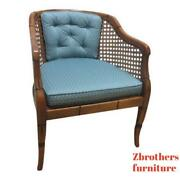 Vintage French Regency Faux Bamboo Fireside Lounge Living Room Club Chair B