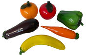 Lot Of 6 Murano Style Glass Fruits And Vegetables Apple Orange Carrot Eggplant