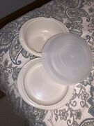 Vintage Tupperware Ultra 21 2 Qt And 3/4 Qt Set With Cover 1723-1725-1726 Almond