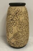 """12"""" Tall Weller Pottery Burndtwood/claywood Vase With Grapes And Vines"""