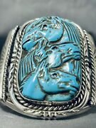 Most Intricate Horse Turquoise Sterling Silver Bracelet Cuff