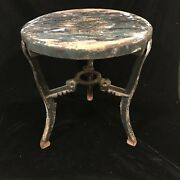 Antique Vintage Industrial Stool Cast Iron Legs Wood Top Nice Plant Stand Table