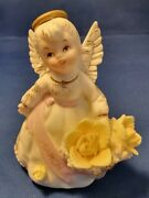 Vintage Lefton Hand Painted Birthday Angel March Yellow Flowers Excel Cond